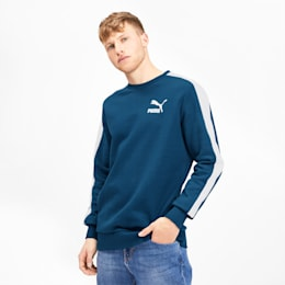 Iconic T7 Men's Fleece Crewneck Sweatshirt, Gibraltar Sea, small