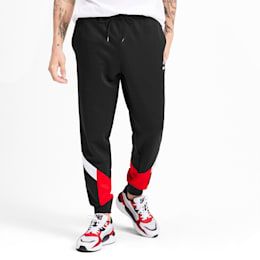 Iconic MCS Knitted Men's Track Pants, Puma Black-Red combo, small