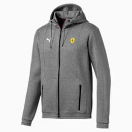 Ferrari Hooded Men's Sweat Jacket, Medium Gray Heather, small-IND