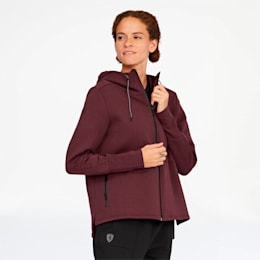 Scuderia Ferrari Women's Hooded Sweat Jacket, Vineyard Wine, small