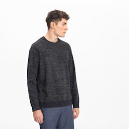 Essential Crew Neck Men's Golf Sweater, Puma Black Heather, small