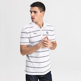 BMW M Motorsports Striped Men's Polo Shirt, Puma White, small