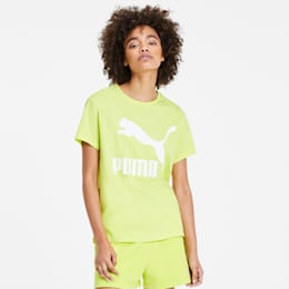 Camiseta Classics con logotipo para mujer, Sunny Lime, pequeño