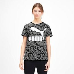 Camiseta Classics AOP con logo para mujer, Puma Black, pequeño