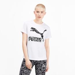 Camiseta Classics AOP con logo para mujer, Puma White, pequeño