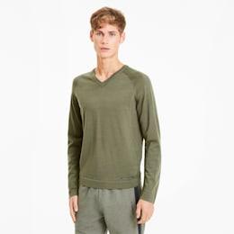 Porsche Design evoKNIT Men's V-Neck Sweater, Deep Lichen Green, small