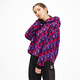 PUMA XTG Allover-Print Damen Fleece Hoodie, Purple Glimmer-AOP, small