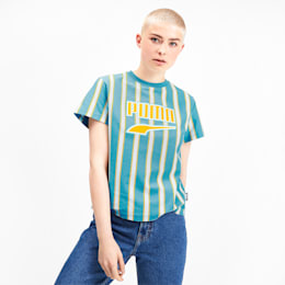 T-shirt Downtown Striped para mulher, Milky Blue, small