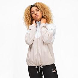 luXTG Jacquard Women's Track Jacket, Pastel Parchment, small