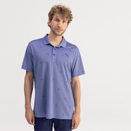 Ditsy Men's Golf Polo, Dazzling Blue Heather, small
