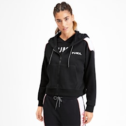 Chase Women's Cropped Full Zip Hoodie, Puma Black, small