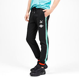 luXTG Men's Cuffed Sweatpants, Puma Black / Blue Turquoise, small