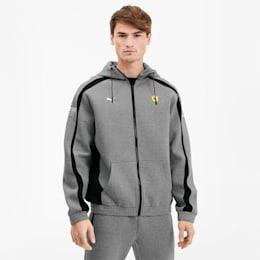Scuderia Ferrari Hooded Men's Sweat Jacket, Medium Gray Heather, small