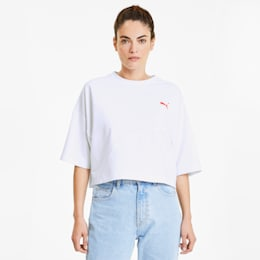 Evide Formstrip Women's Cropped Tee, Puma White, small