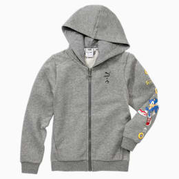 PUMA x SONIC Jungen Sweatjacke mit Kapuze, Medium Gray Heather, small