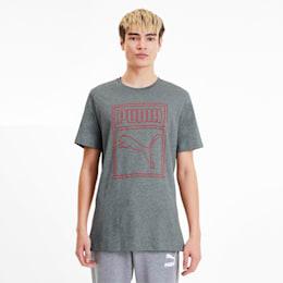 Camiseta con logo estampado Box para hombre, Medium Gray Heather, pequeño
