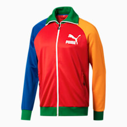 PUMA x FASHION GEEK Men's T7 Jacket, Red-Surf The Web-Gold Fusion, small