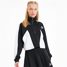 Tailored For Sport Women's Cropped Half Zip Jacket, Puma Black, small