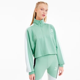 Tailored For Sport Women's Cropped Half Zip Jacket, Mist Green, small