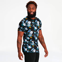 Trend Men's Graphic AOP Tee, Faded Denim-Floral AOP, small