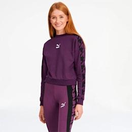 Trend Women's Graphic Crewneck Sweatshirt, Plum Purple, small