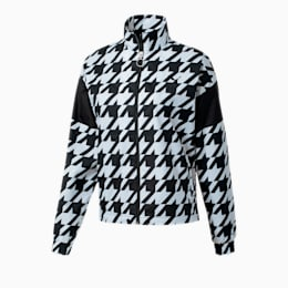 Trend Women's Track Jacket, Puma Black-Houndstooth AOP, small