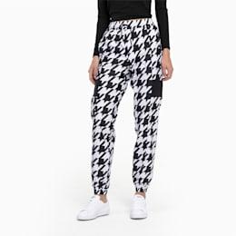 Trend Woven sweatpants voor dames, Puma Black-Houndstooth AOP, small