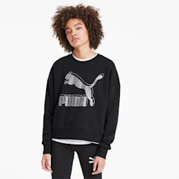 Classics Logo Metallic Crew Women's Sweater, Puma Black-Metallic Silver, small-SEA