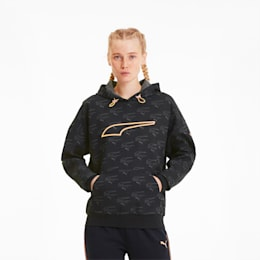 Evide Allover-Print Damen Hoodie, Puma Black-fizzy orange, small