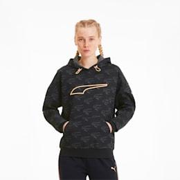 Sweatshirt à capuche Evide Allover-Print pour femme, Puma Black-fizzy orange, small