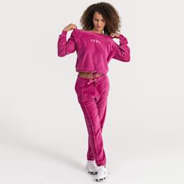 Velvet Off-Shoulder Damen Sweatshirt, Magenta Haze, small