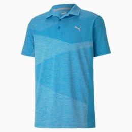Camiseta tipo polo de jacquardAlterknitpara hombre, Ibiza Blue Heather, pequeño