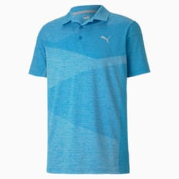 Alterknit Men's Jacquard Polo, Ibiza Blue Heather, small