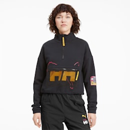 PUMA x HELLY HANSEN Half Zip Women's Sweater, Puma Black, small-SEA