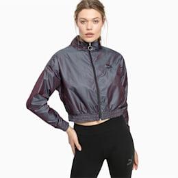 Iridescent Pack-jakke i vævet materiale til kvinder, Plum Perfect-Iridescent, small