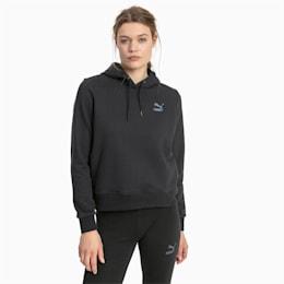 Camisola com capuz Iridescent Pack para mulher, Cotton Black, small