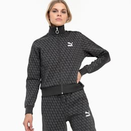 Luxe Pack All-Over Printed Women's Track Jacket, Cotton Black-AOP, small
