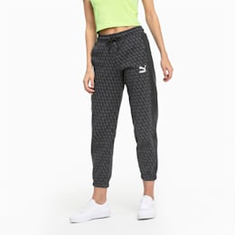 Luxe Pack All-Over Printed Women's Track Pants, Cotton Black-AOP, small