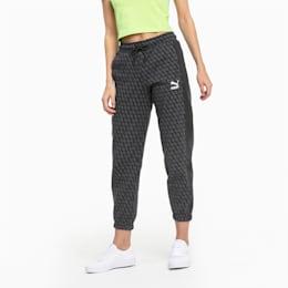 Luxe Pack-træningsbukser med dækkende print til kvinder, Cotton Black-AOP, small