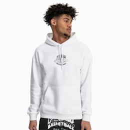 Sweatshirt com capuz Hoops para homem, Puma White, small