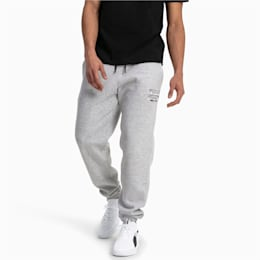 Cozy Knitted Fleece Men's Sweatpants, Light Gray Heather, small