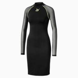 Langærmet Tech Clash Bodycon-kjole til kvinder