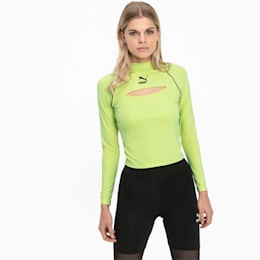 Tech Clash Long Sleeve Women's Top, Sharp Green, small