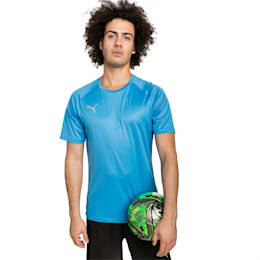 ftblNXT Men's Football Tee, Bleu Azur-Red Blast, small