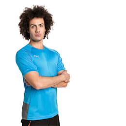 ftblNXT Pro Short Sleeve Men's Football Tee, Bleu Azur-Red Blast, small-SEA