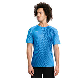 ftblNXT Core Graphic Herren Fußball T-Shirt, Bleu Azur-Red Blast, small