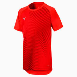 ftblNXT Graphic Kids' Football Tee, Red Blast-Puma Black, small-IND