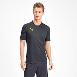 Men's Training Tee, Ebony-Yellow Alert, small