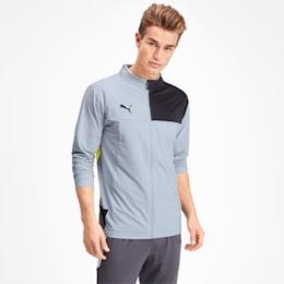 Men's Track Jacket, Grey Dawn-Yellow Alert, small