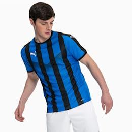 Maglia gara da calcio da uomo a righe Liga, Electric Blue Lemonade-Black, small